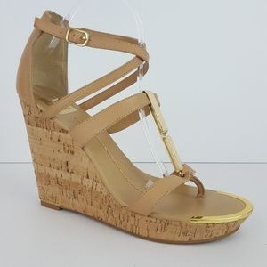 {Dolce Vita} Tabby Tan Leather Cork Wedge Sandals